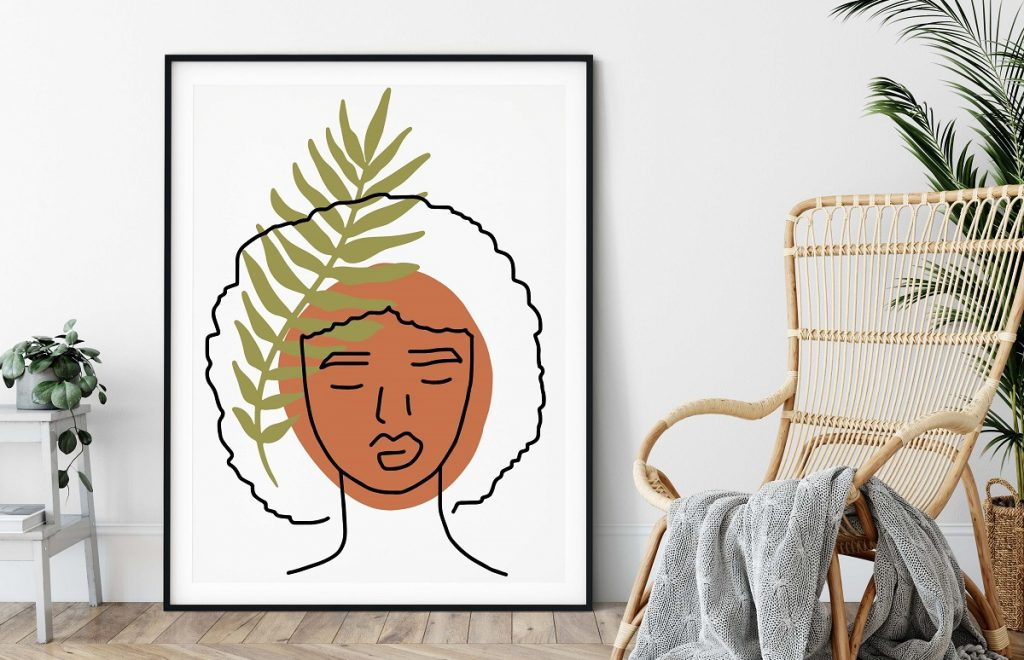 Afro woman leaf