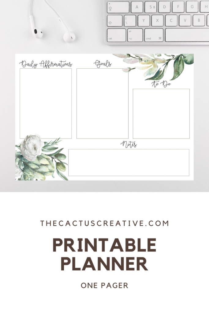 Planner printable one pager