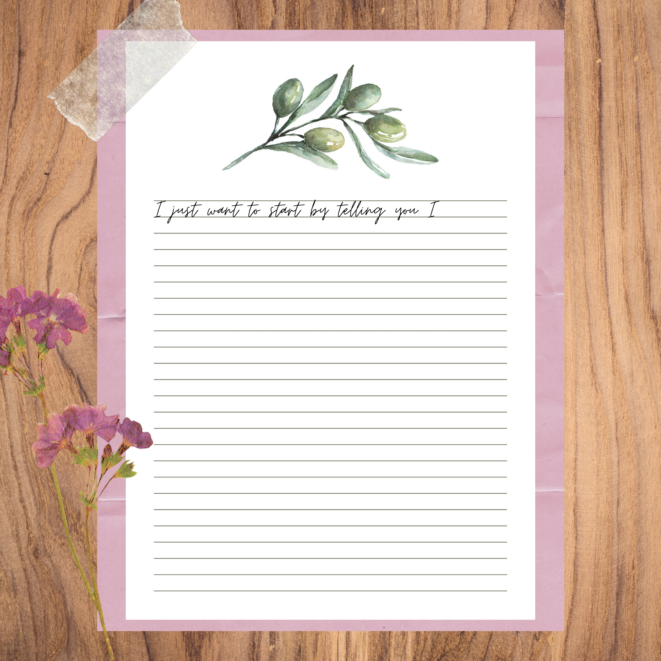 Floral writing paper olive